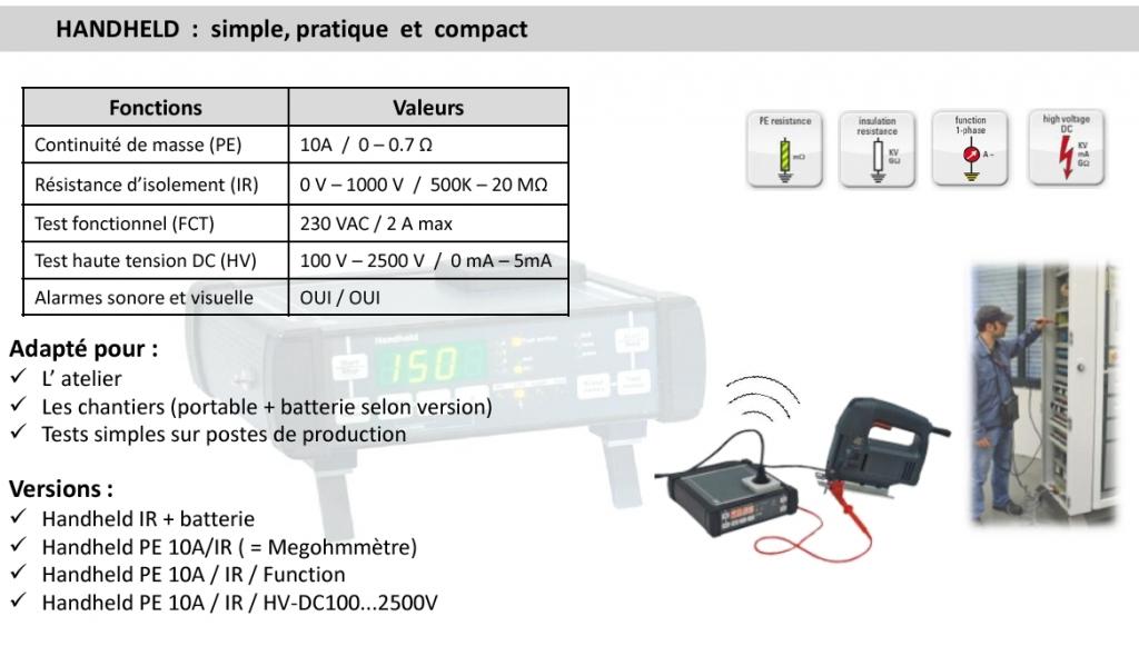hanheld test electrique